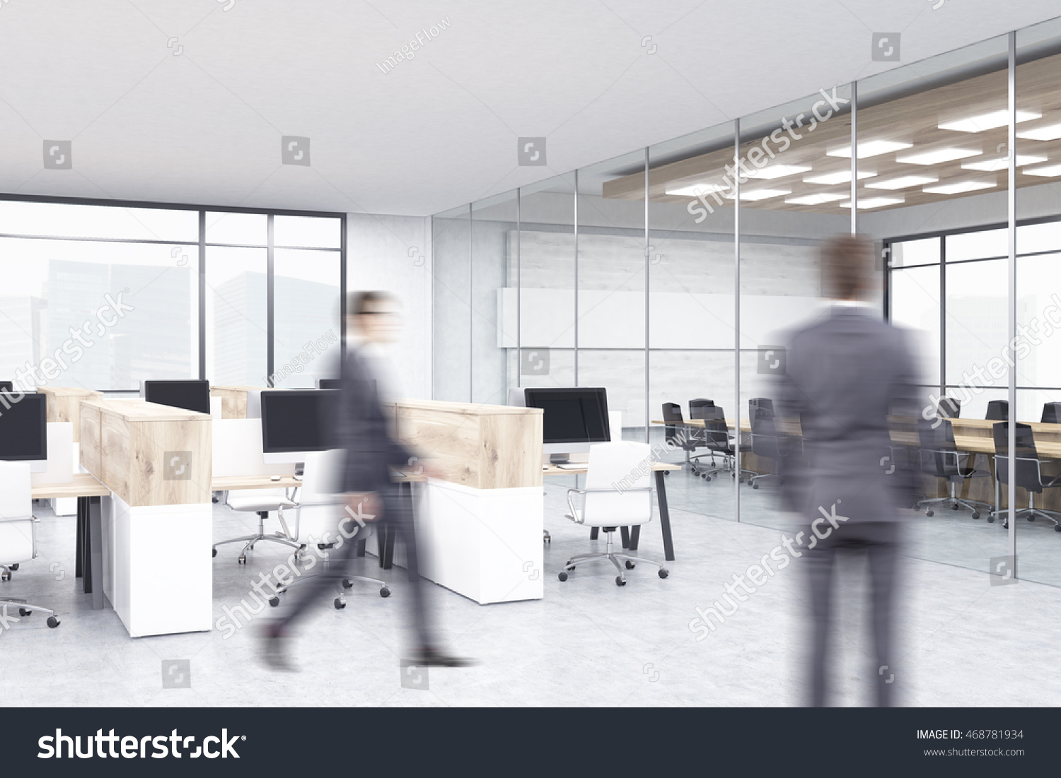 office with cubicles. Two Businessmen In Office With Cubicles And Conference Room Background. Concept Of Corporate Work E