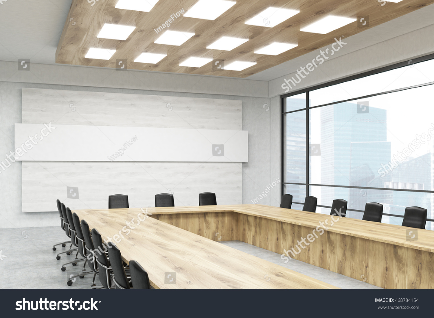 Office Room Interior With Long Table Chairs Poster Windows And City View