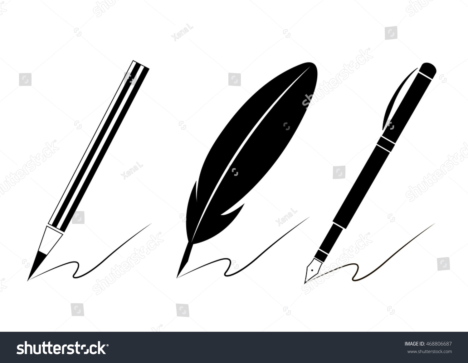 Set pen icons writing materials symbols stock vector 468806687 set of pen icons writing materials symbols for your web site design logo biocorpaavc Choice Image