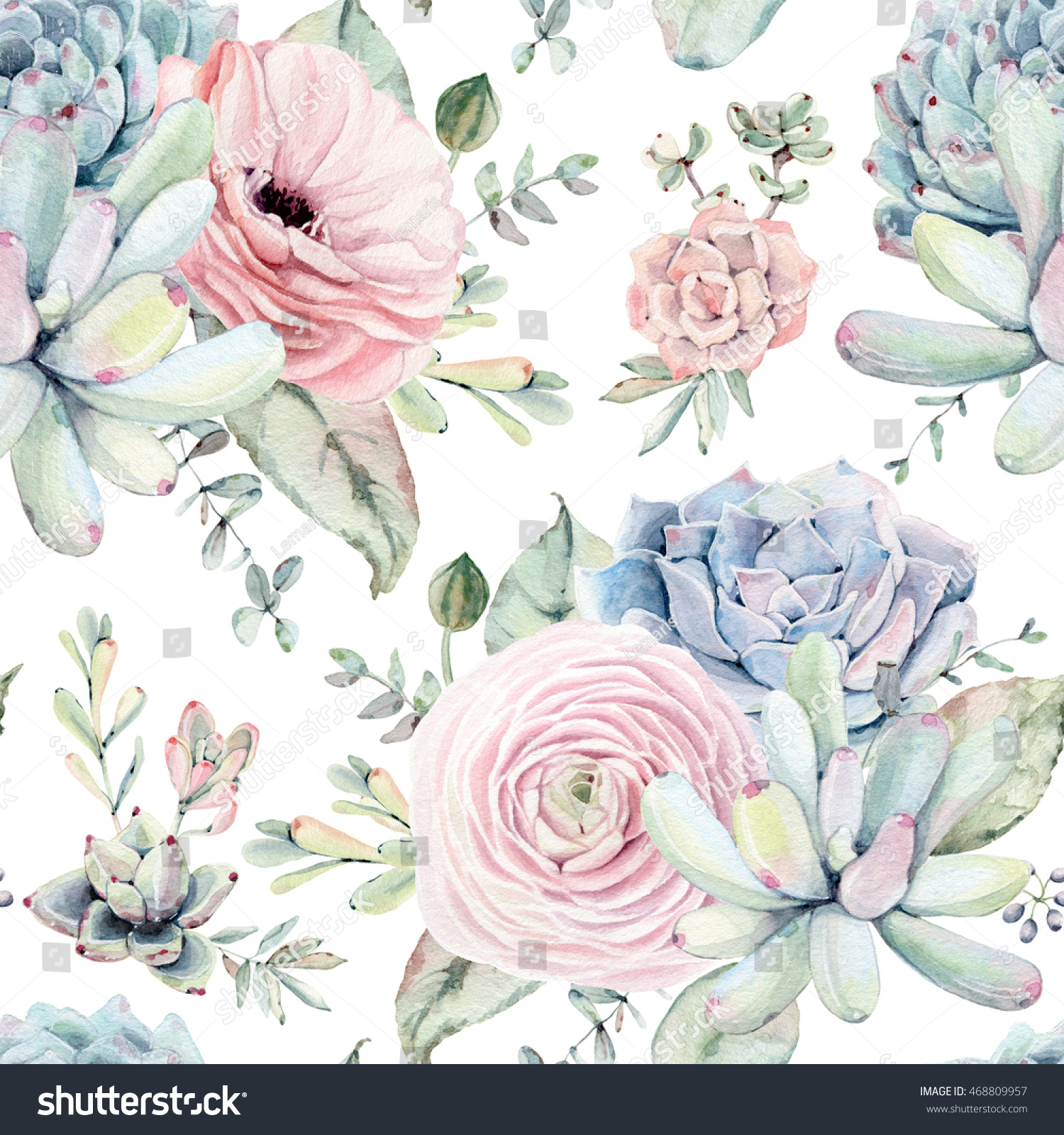 Watercolor Succulents Seamless Pattern Seamless Texture Stock Illustration 468809957