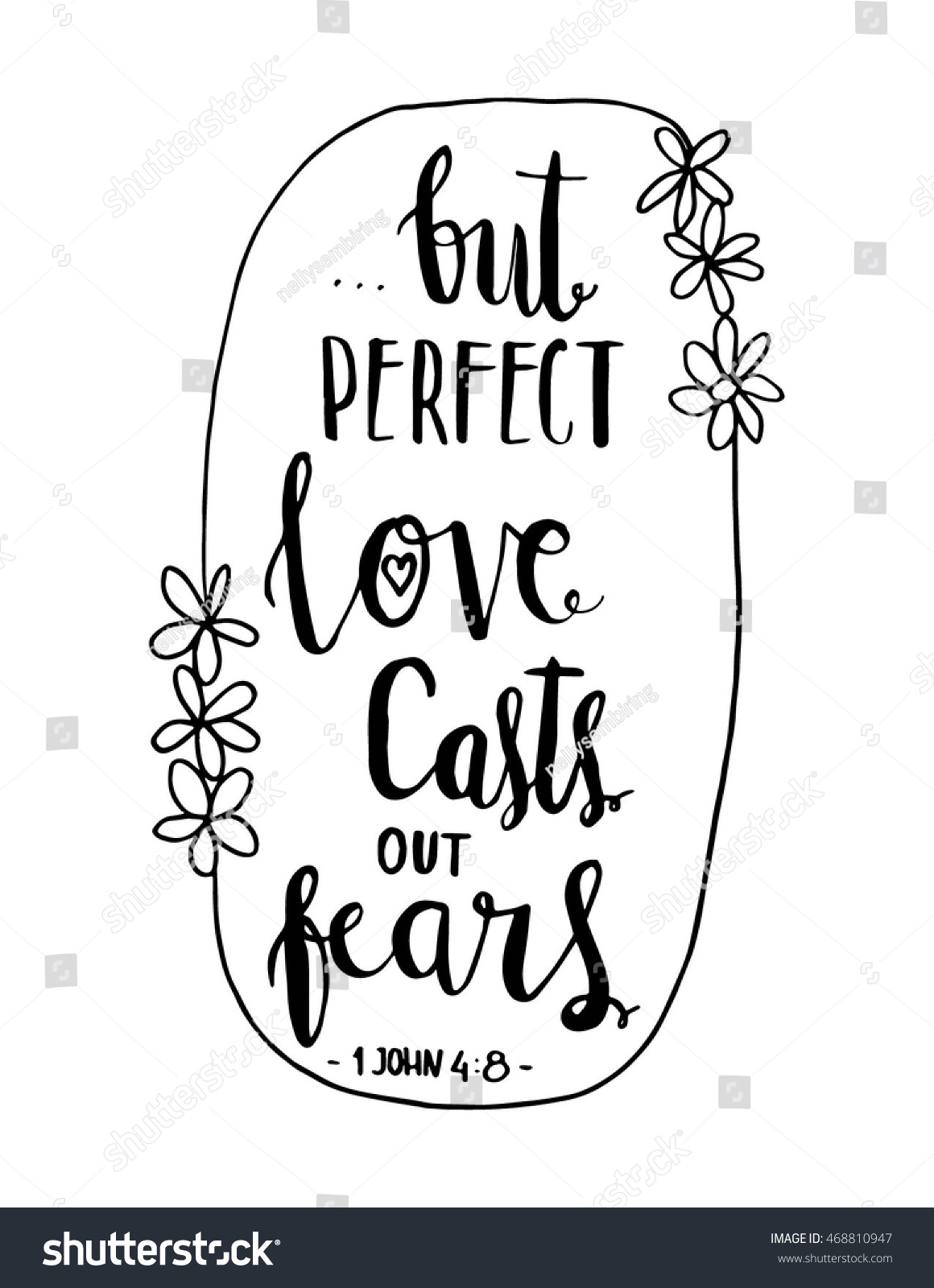 Perfect love cast out fears quote stock vector