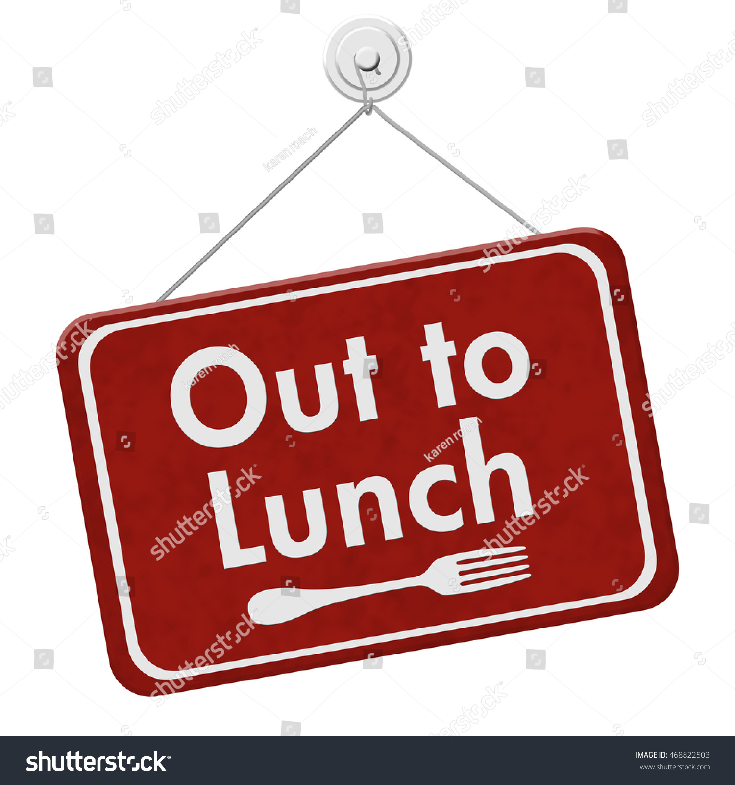 Red Hanging Sign Text Out Lunch Stock Illustration 468822503