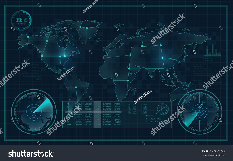 Technological Experiment Futuristic Backdrop Radar Interface Stock Vector 468823082