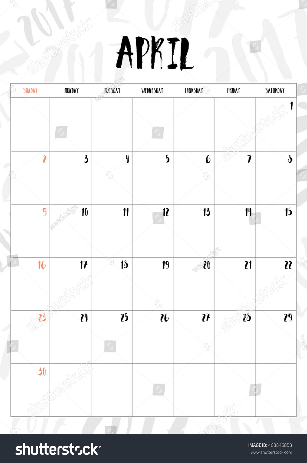Calendar April Vector : Vector calendar april month table on stock
