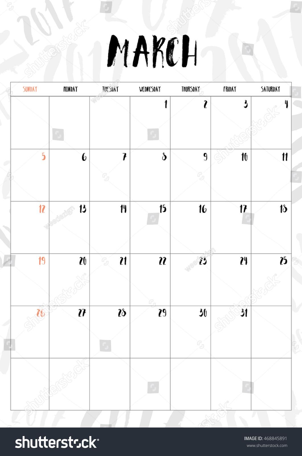 Table Calendar Size : Vector calendar march month table on stock