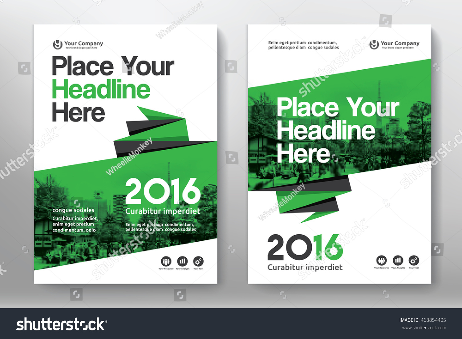Book color scheme - Green Color Scheme With City Background Business Book Cover Design Template In A4 Can Be