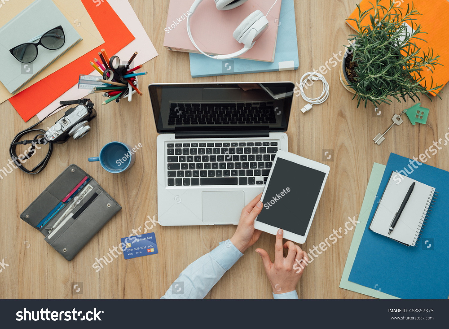laptop office desk. Businesswoman Working At Office Desk With A Laptop And Digital Tablet, She Is Shopping C