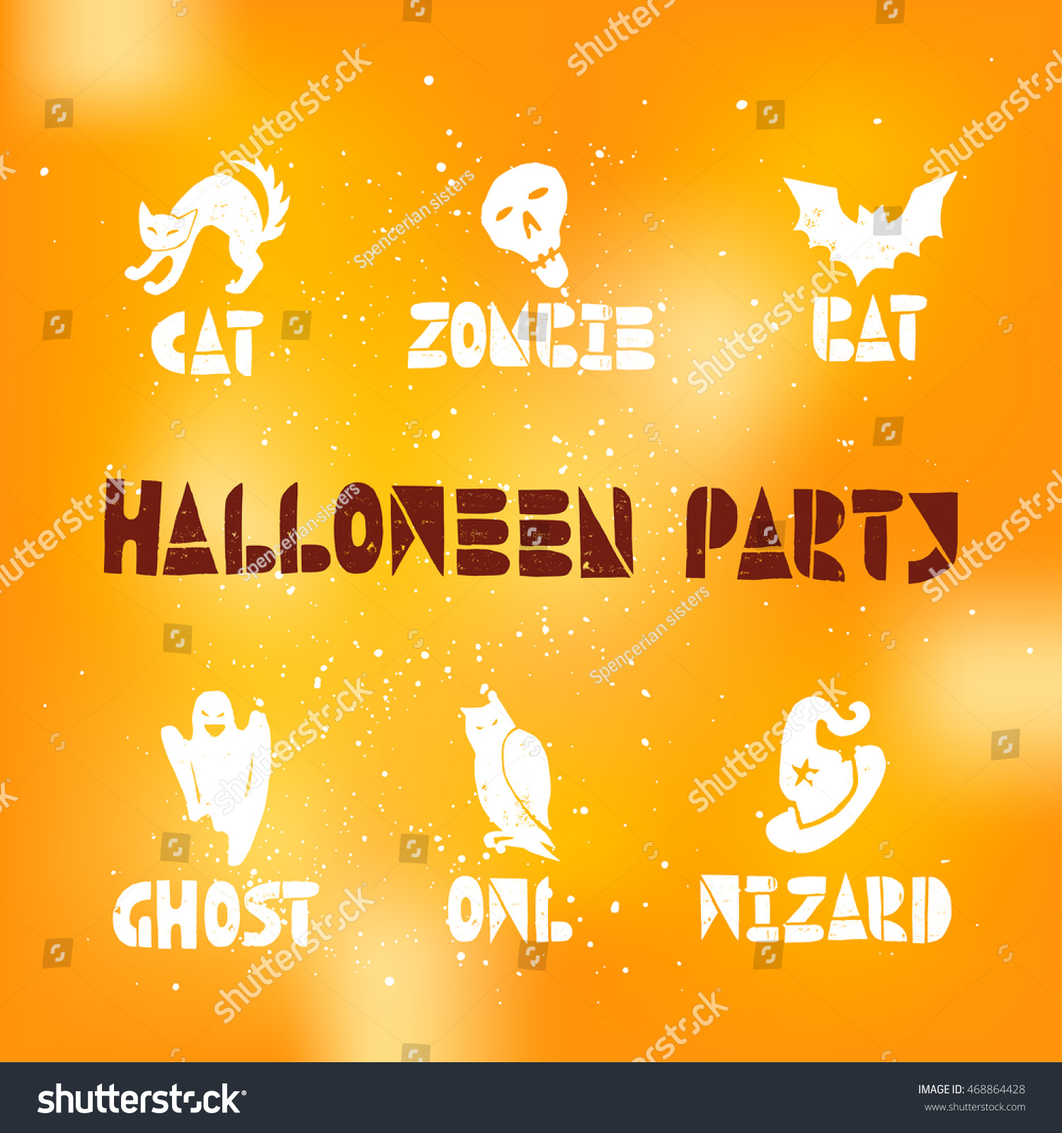 happy halloween linocut vector elements on stock vector (royalty