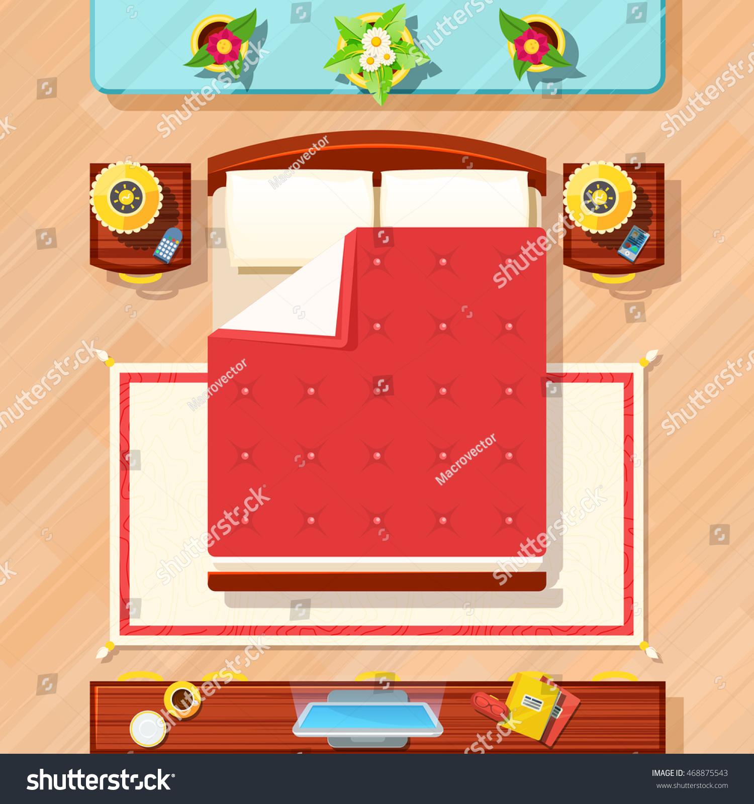 Bedroom Top View Design Bed Tv Stock Vector Royalty Free 468875543