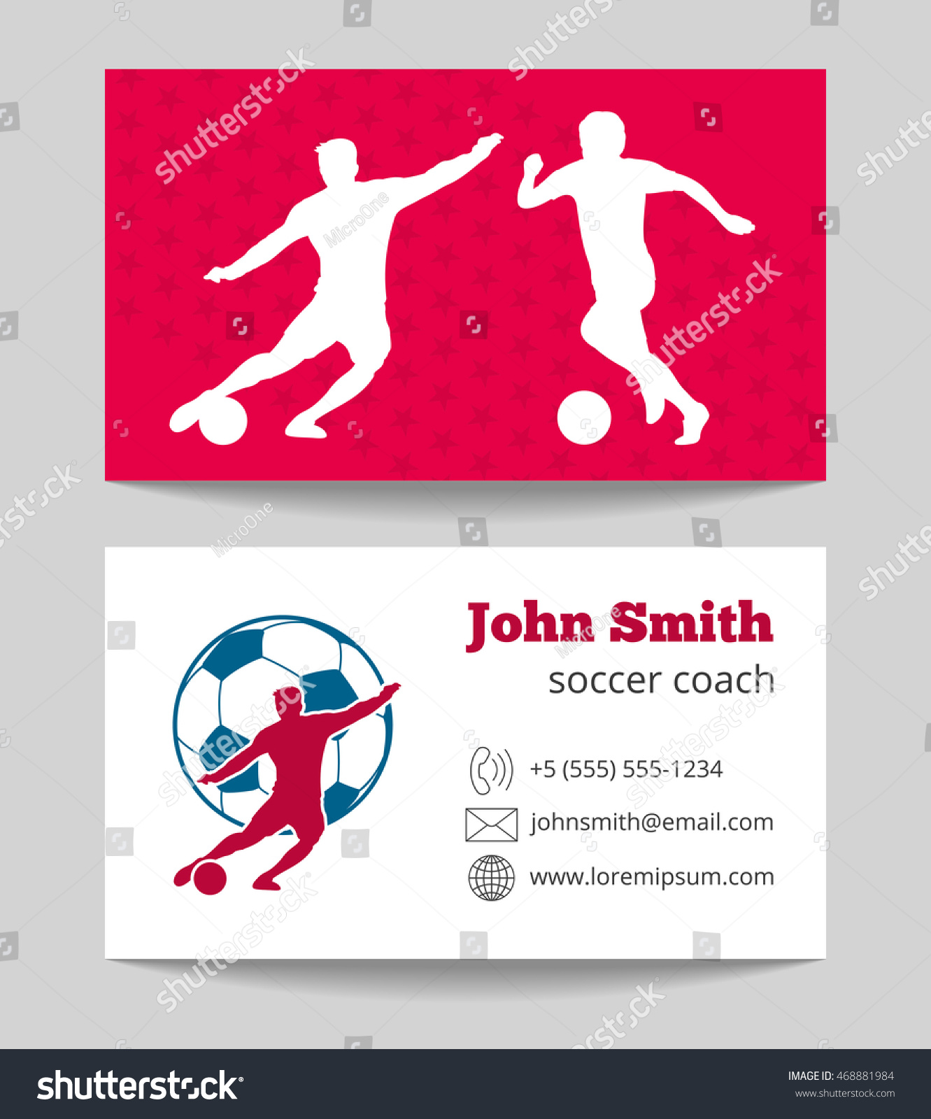 Soccer club business card both sides stock vector 468881984 soccer club business card both sides template in red and white vector illustration magicingreecefo Gallery