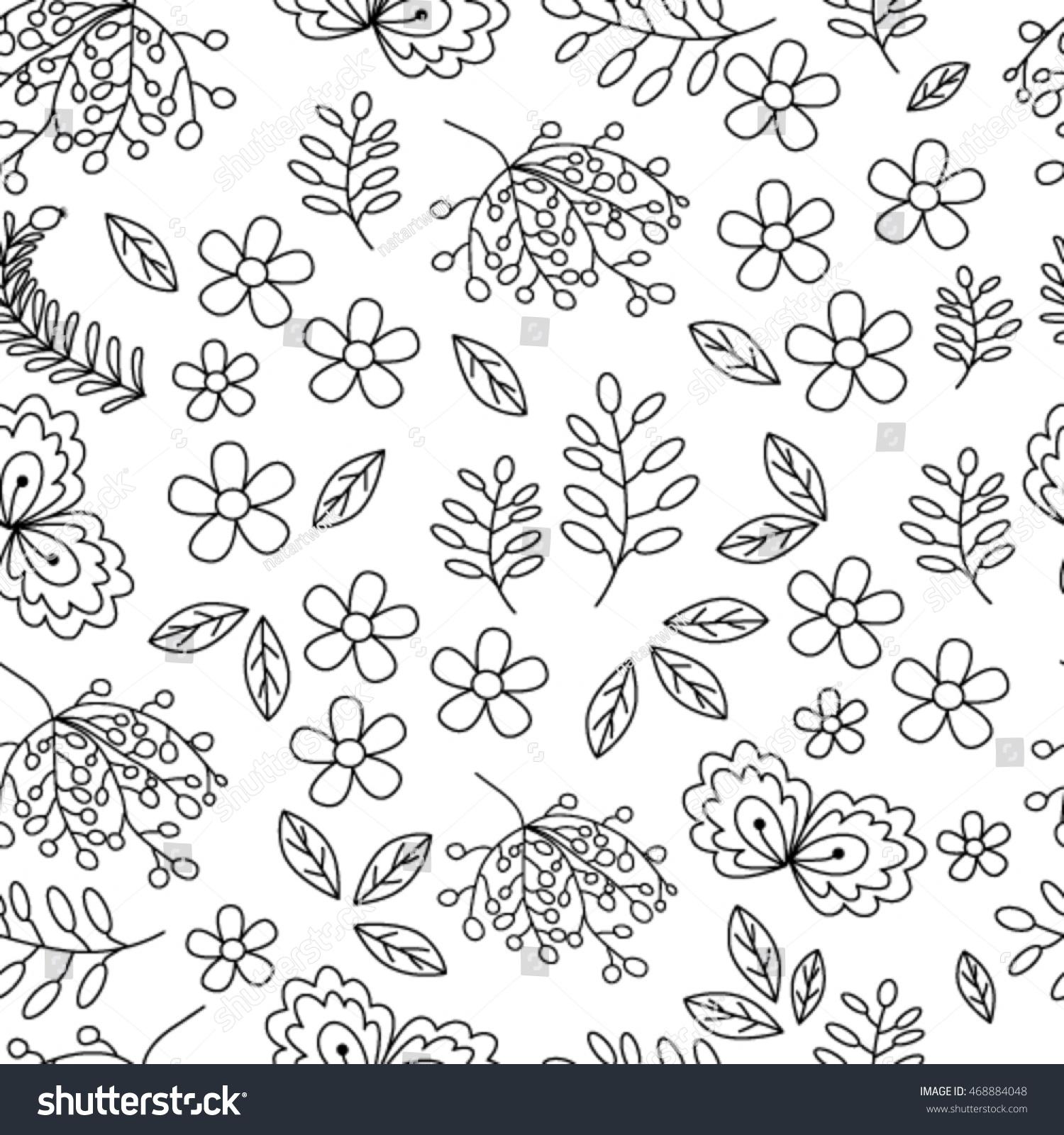 Seamless Pattern Flowers Leaves Black White Stock Vector