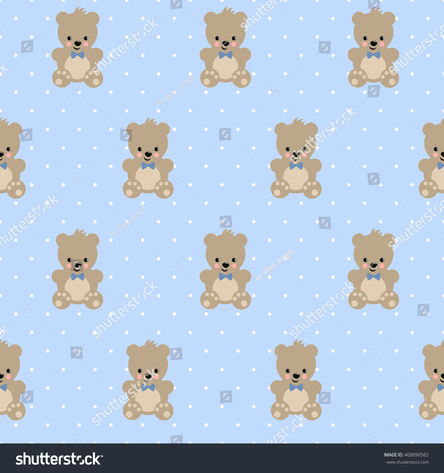 Teddy Bear Seamless Pattern On Baby Blue Polka Dots Background Cute Vector With