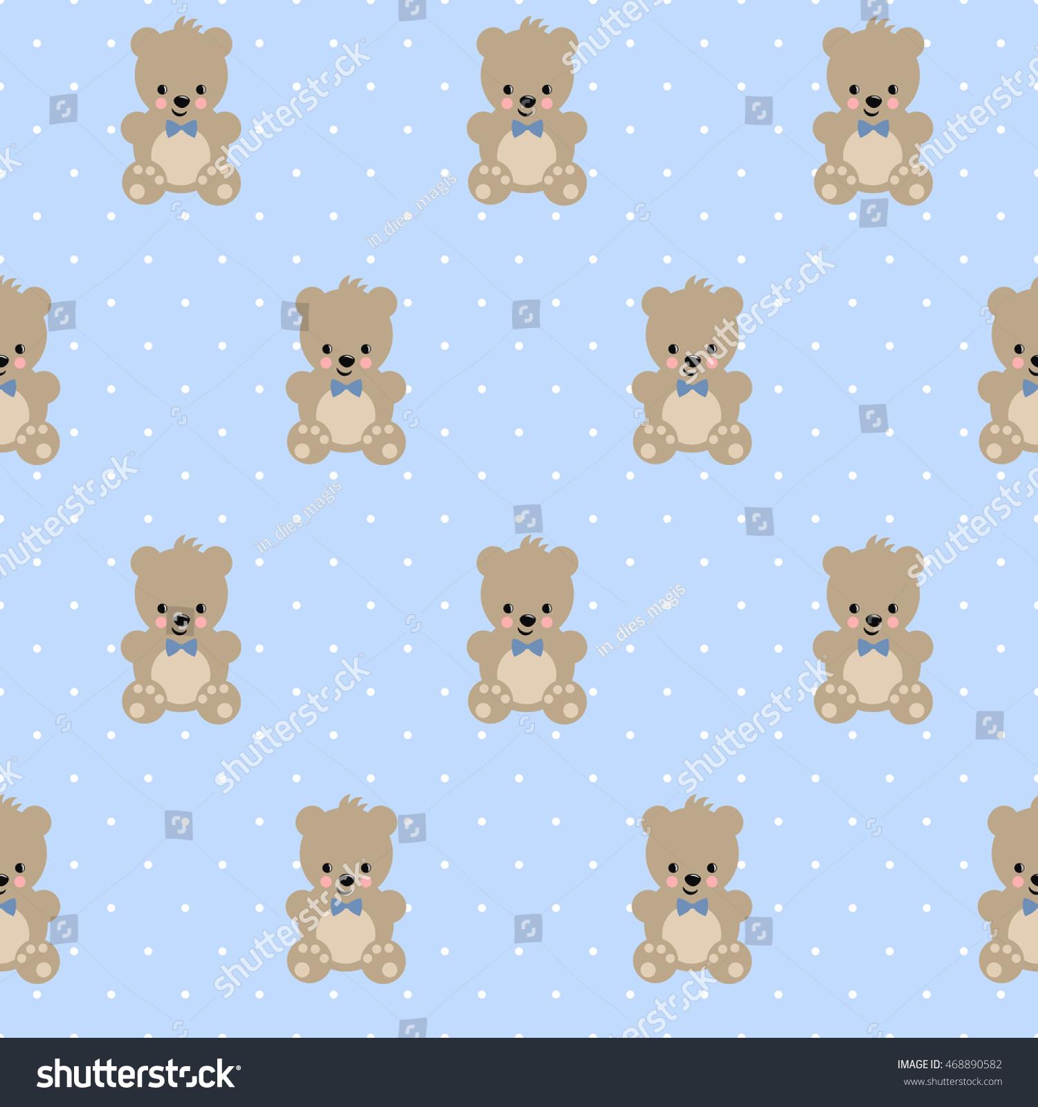 Teddy Bear Seamless Pattern Baby Stock Vector