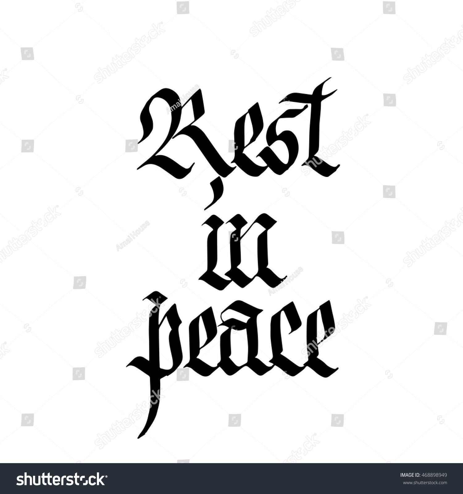 Rest peace sign ink hand lettering stock vector