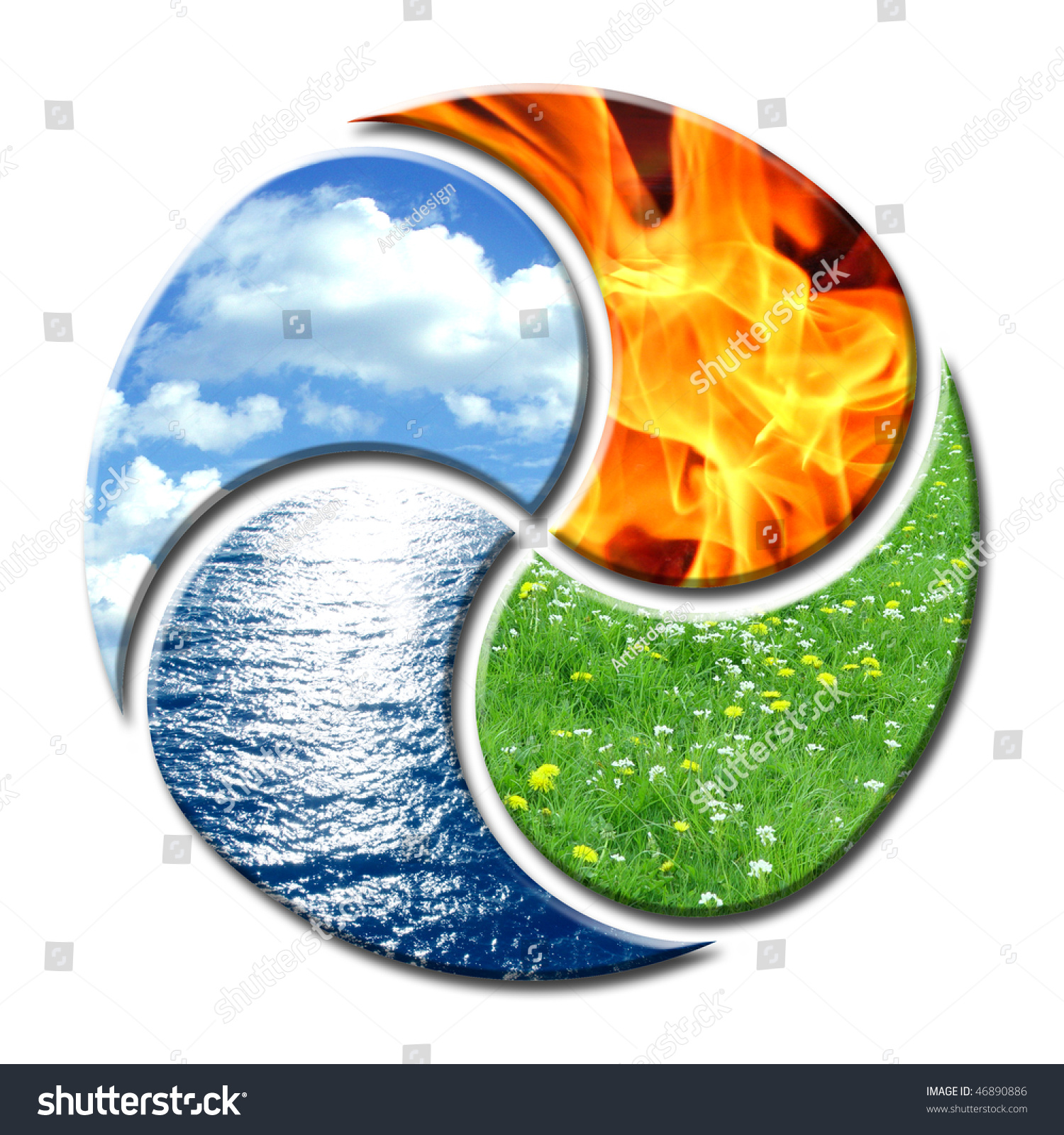 Premium composition of the four natural elements water, air, fire and  earth. They