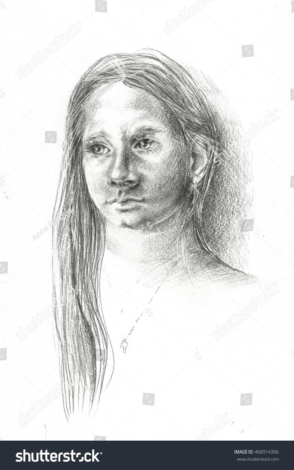 Little beautiful girl sketch hand drawn illustration