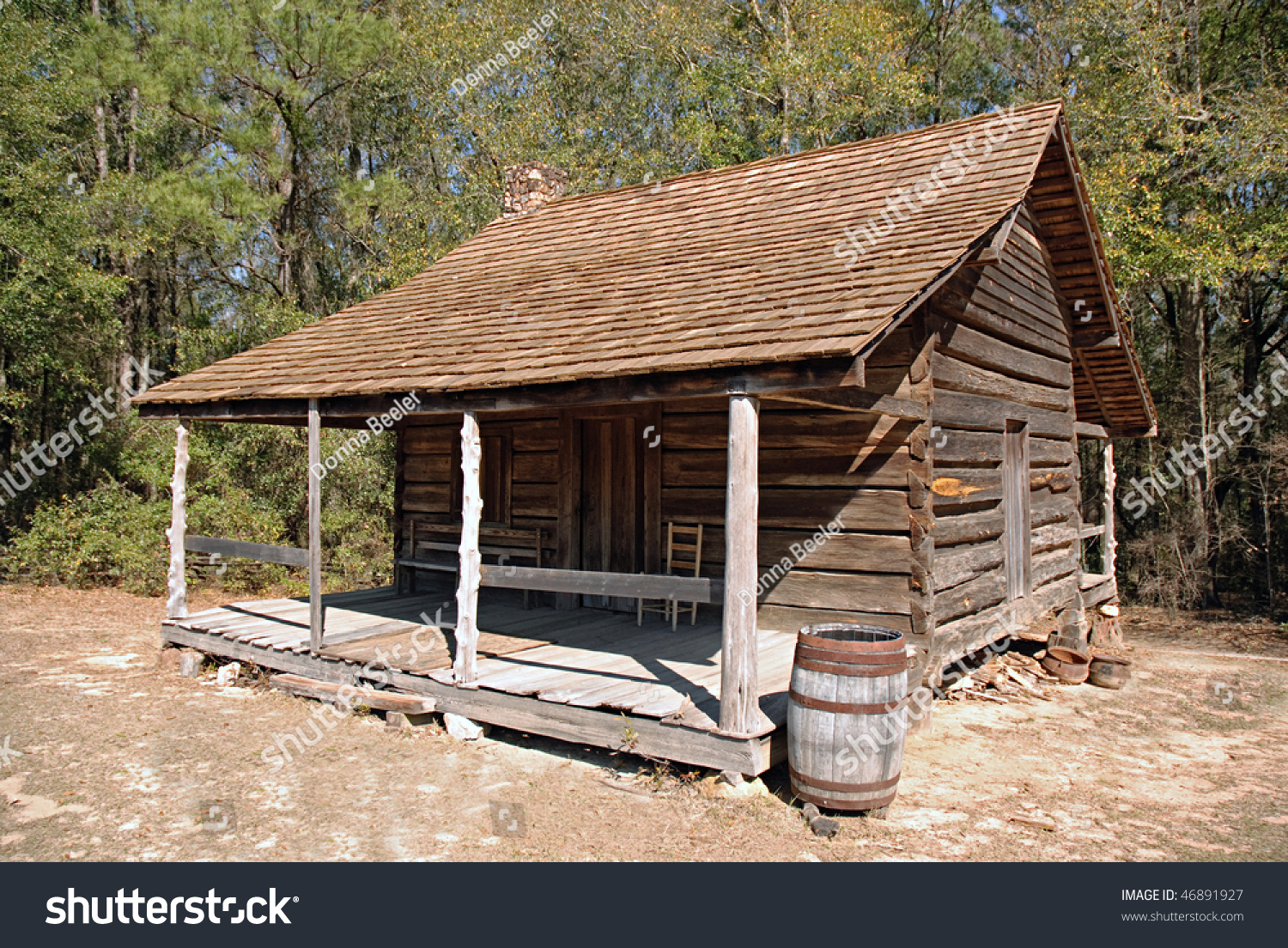 Simple log cabin back woods stock photo 46891927 for Simple cabin