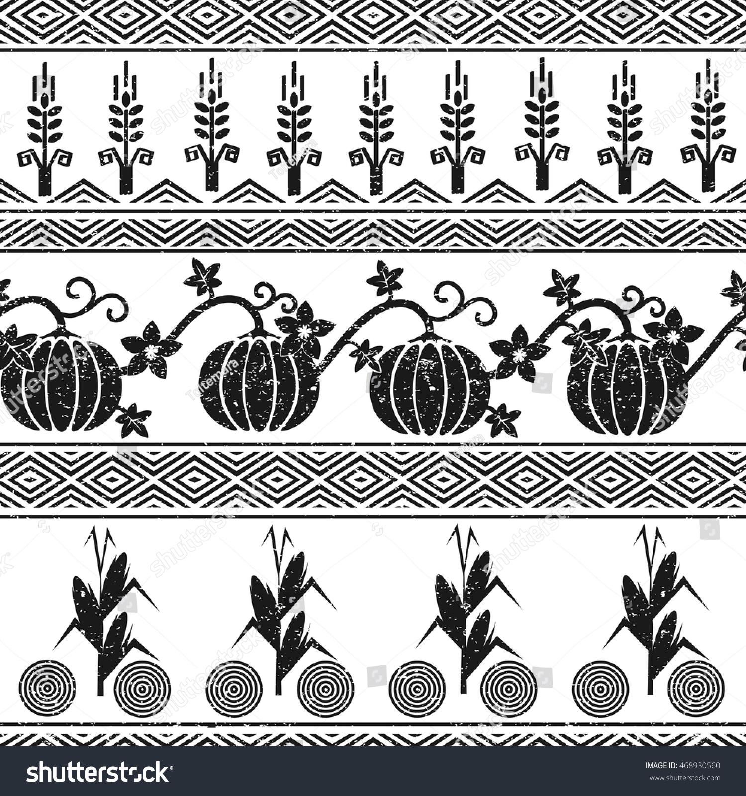 Stylized seamless background wheat corn pumpkins stock vector stylized seamless background with wheat corn pumpkins and native american indians symbols buycottarizona Gallery