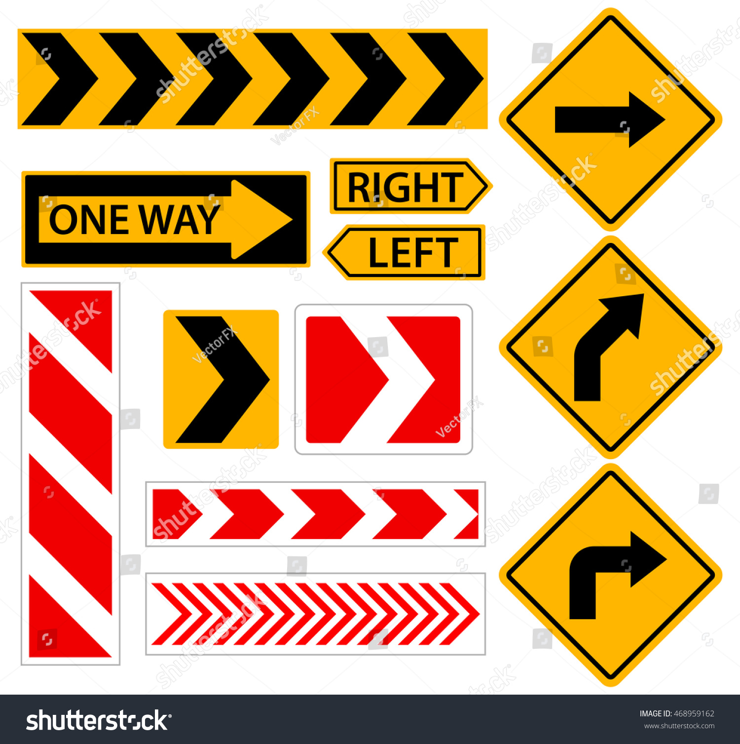 right turn road sign arrow set stock vector royalty free 468959162