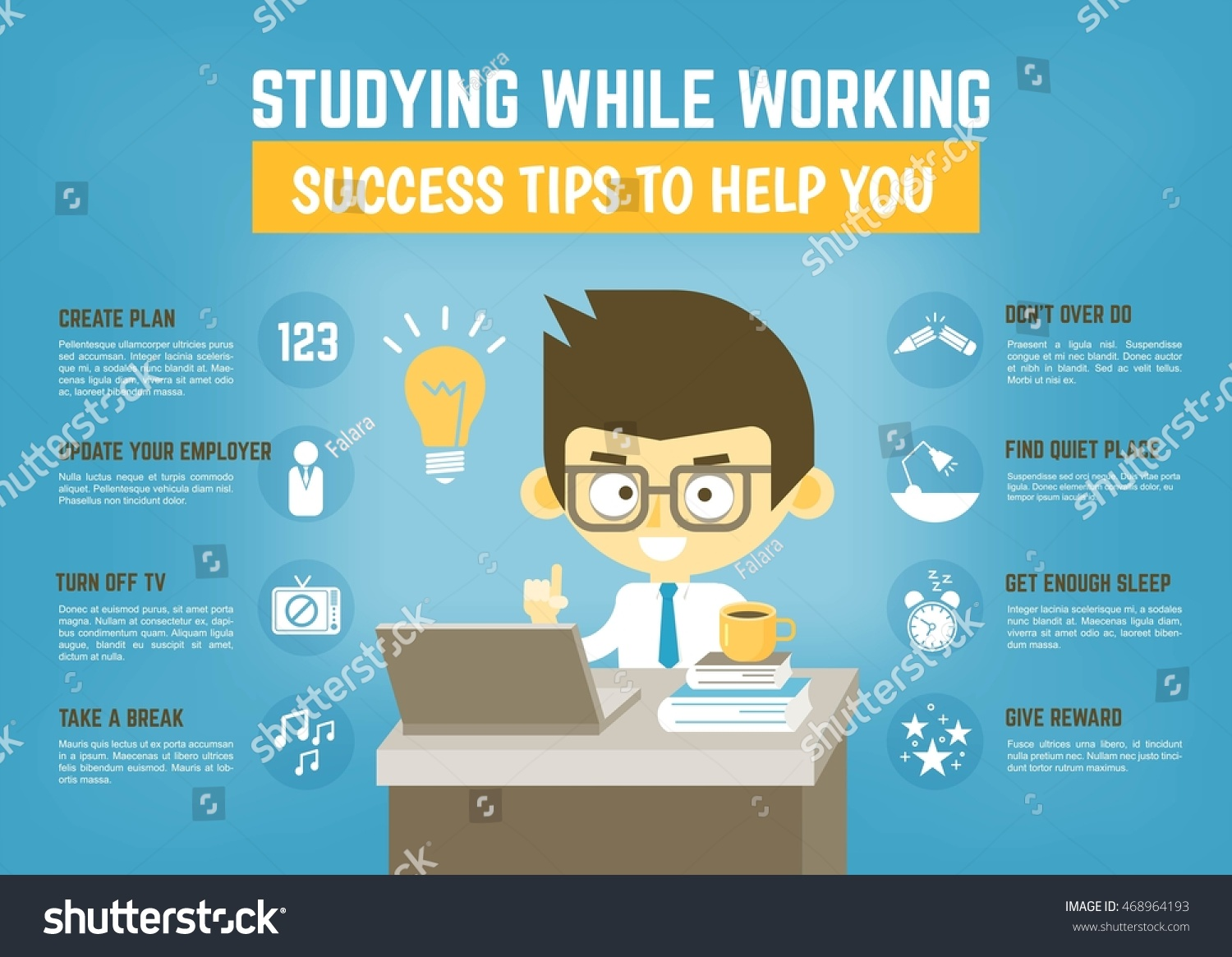 Infographic Cartoon Character About Success Tips Stock Vector