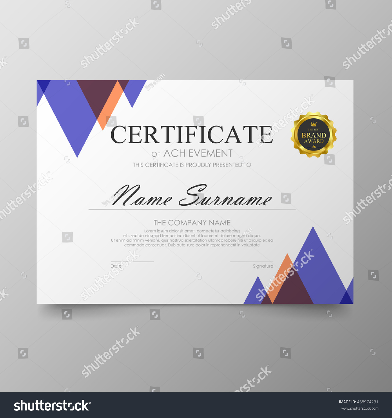 Certificate Template Awards Diploma Background Vector Stock ...