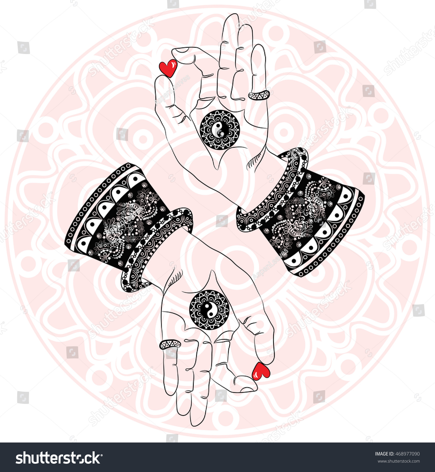 Buddhas Hands Third Eye Yin Yang Stock Vector Royalty Free