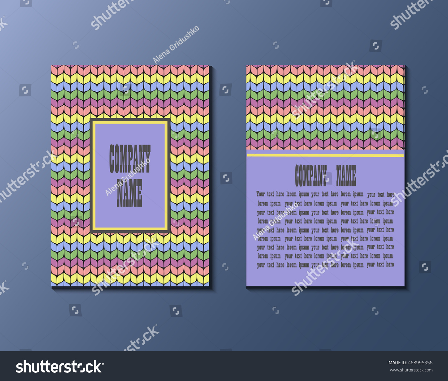 flyer template knitting pattern greeting card stock vector royalty