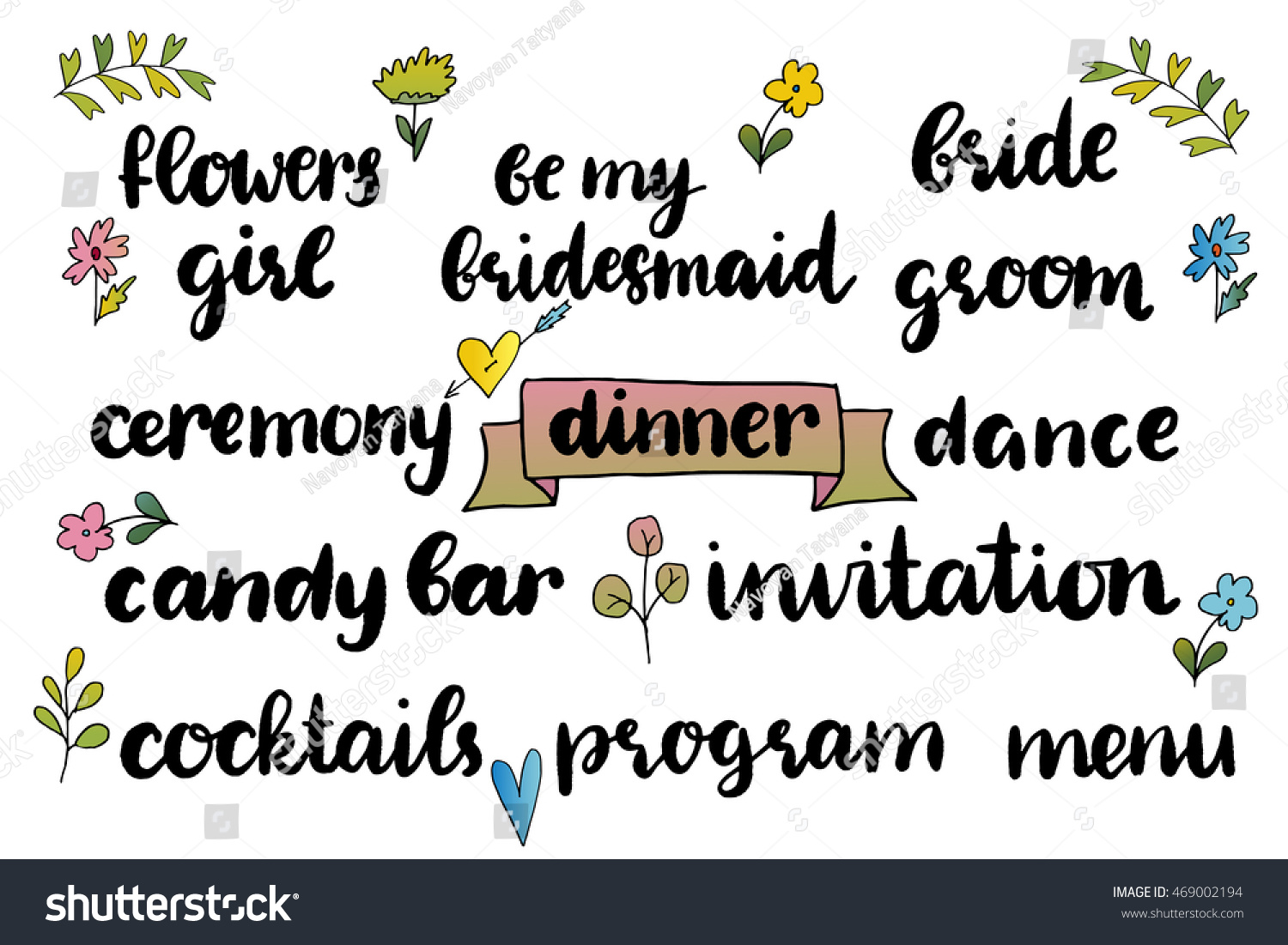 Templates labels wedding words hand drawn stock vector royalty free templates labels wedding words with hand drawn lettering invitation flowers girl filmwisefo