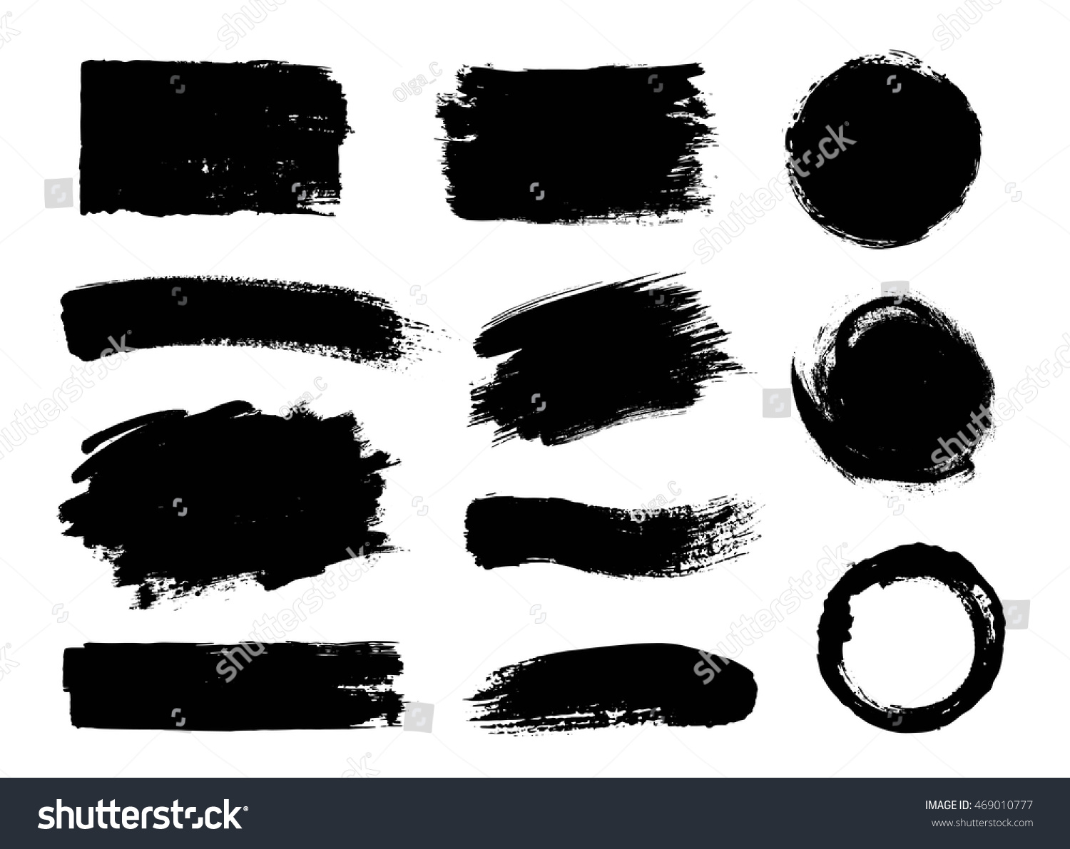 Vector set of grunge artistic brush strokes, design elements. Empty black backgrounds, frames for text or quote. #469010777