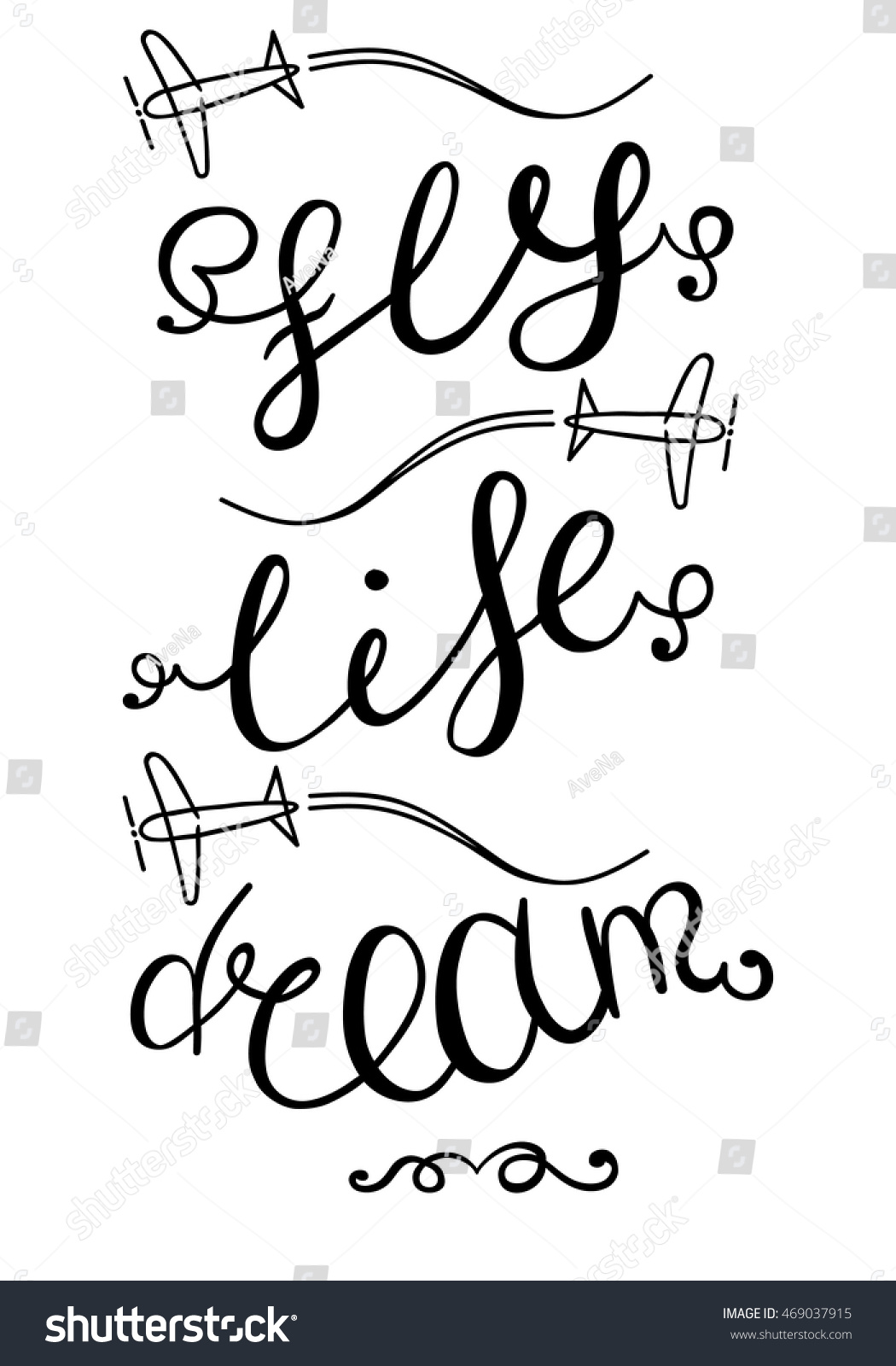 Motivational Words Motivational Words Dream Life Fly Inspirational Stock Vector