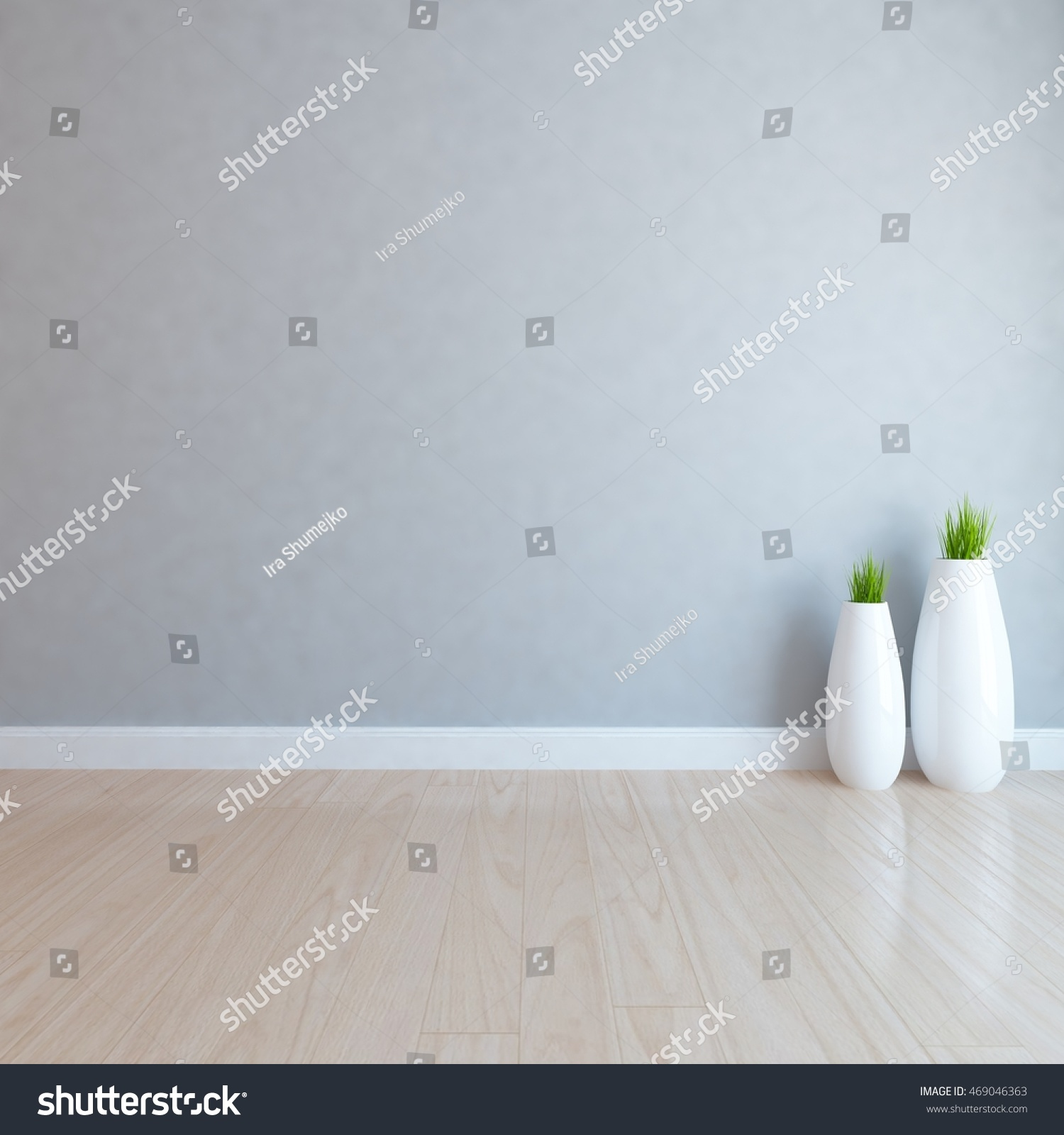 gray empty interior with vases 3d illustration