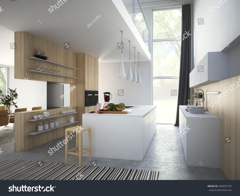 Kitchen Living Room Loft Apartment 3 D Stock Illustration 469053155 ...