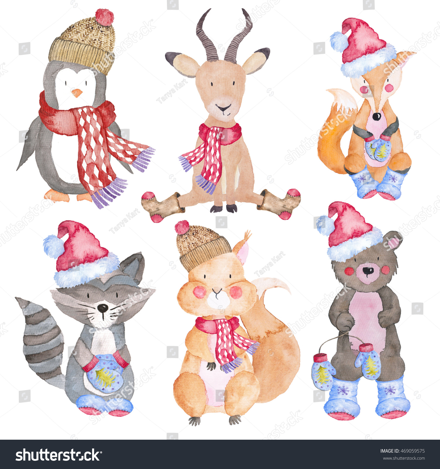 Fox with a hat new year or christmas animal isolated on white - Christmas Winter Animals Fox Bear Raccoon Squirrel Watercolor Hand Drawn Illustrations Woodland Holiday Isolated