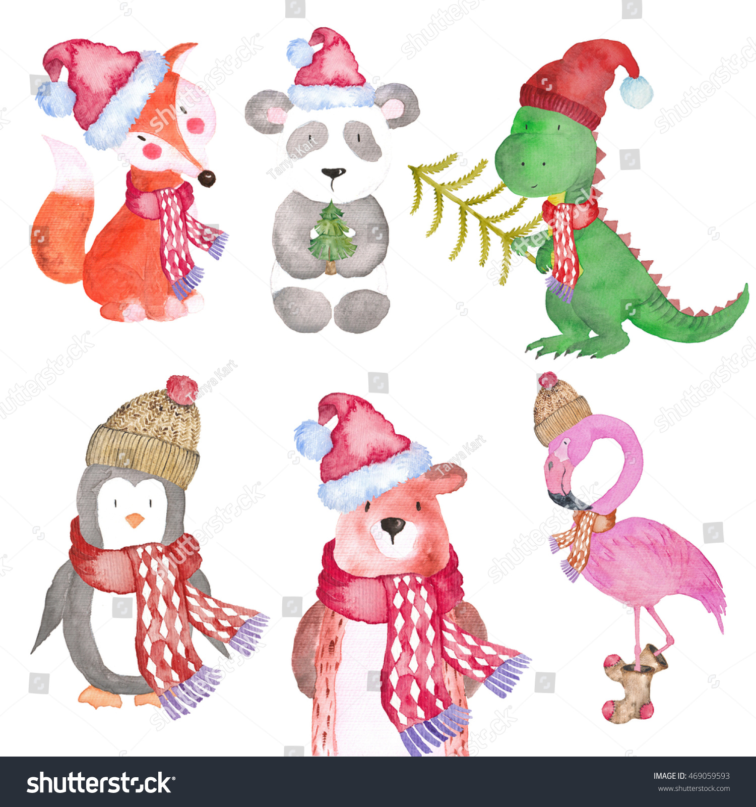 Fox with a hat new year or christmas animal isolated on white - Christmas Winter Animals Fox Penguin Dinosaur Bear Panda Flamingo Watercolor Hand Painting Illustrations Woodland Seasonal Holiday