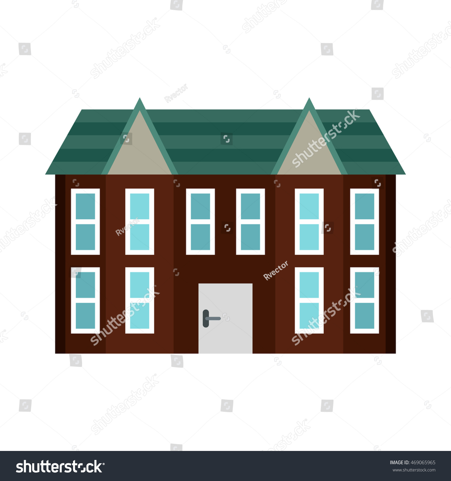 brown two storey house icon flat stock vector 469065965 shutterstock