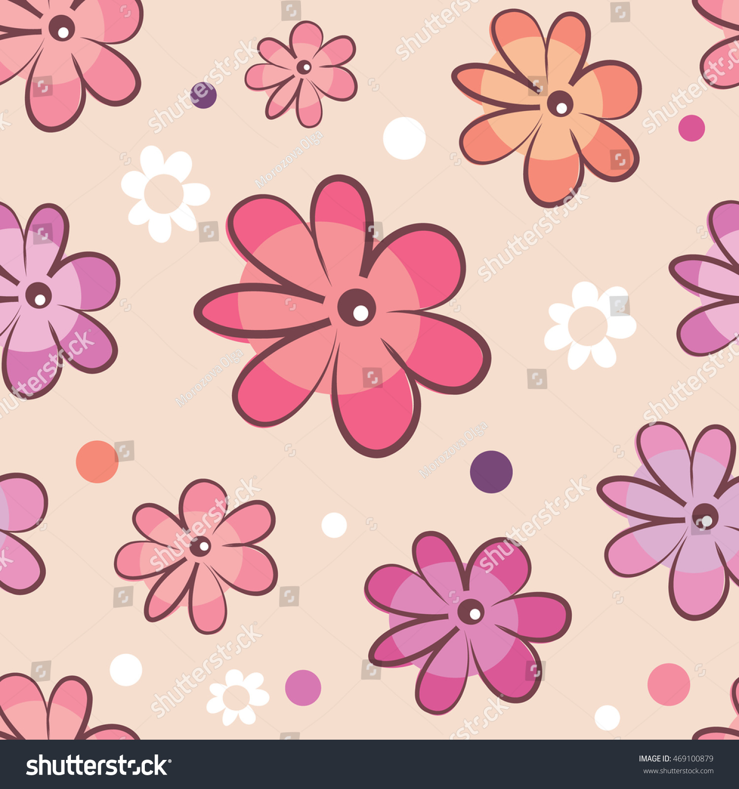 Vector Cartoon Flowers On A Dark Background In Seamless Pattern Eps
