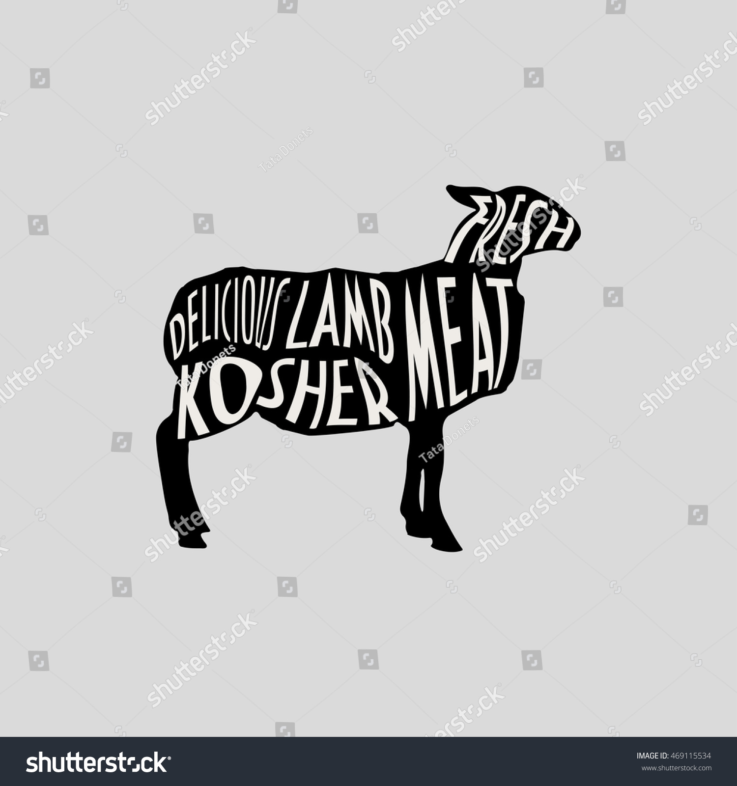 Lamb Silhouette Text Lamb Meat Kosher Stock Vector (Royalty Free ...