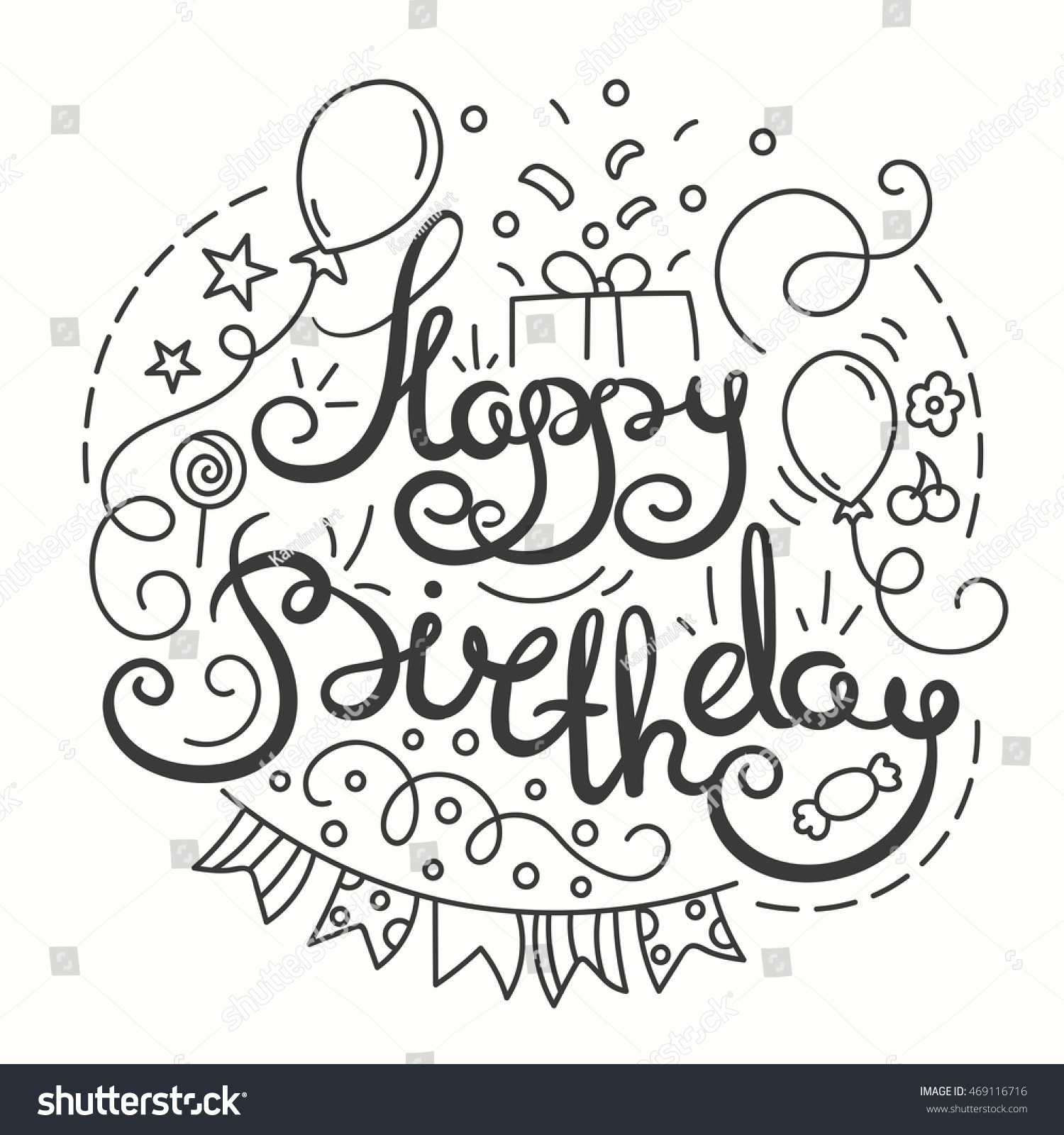 Happy birthday sign in elegant black script type with ornament - Happy Birthday Typography Design Hand Drawn Lettering Card With Birthday Party Elements In Line Art