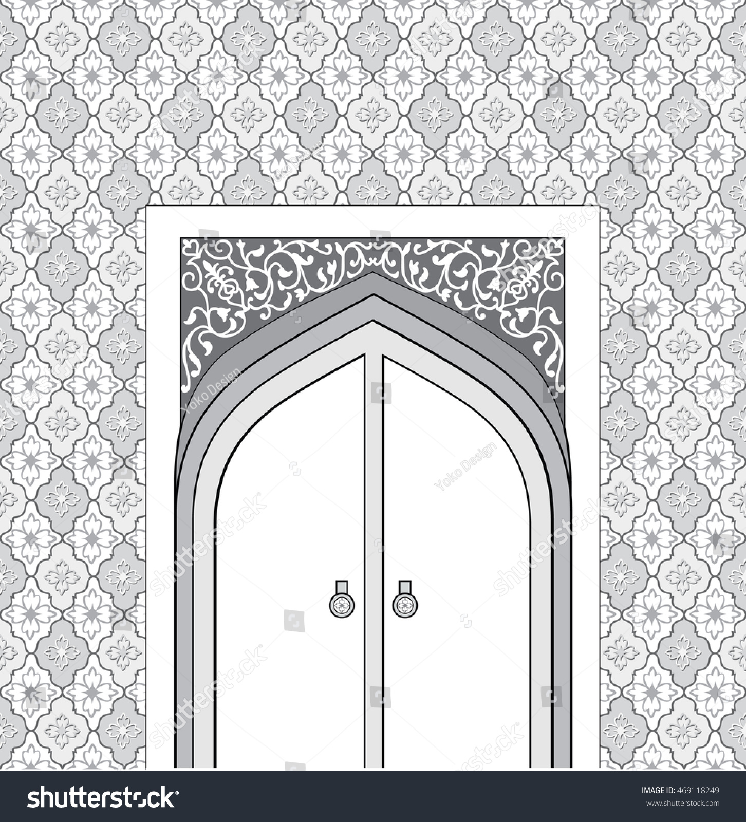Doorway arabic architectural style arch patterned stock for Architecture arabe