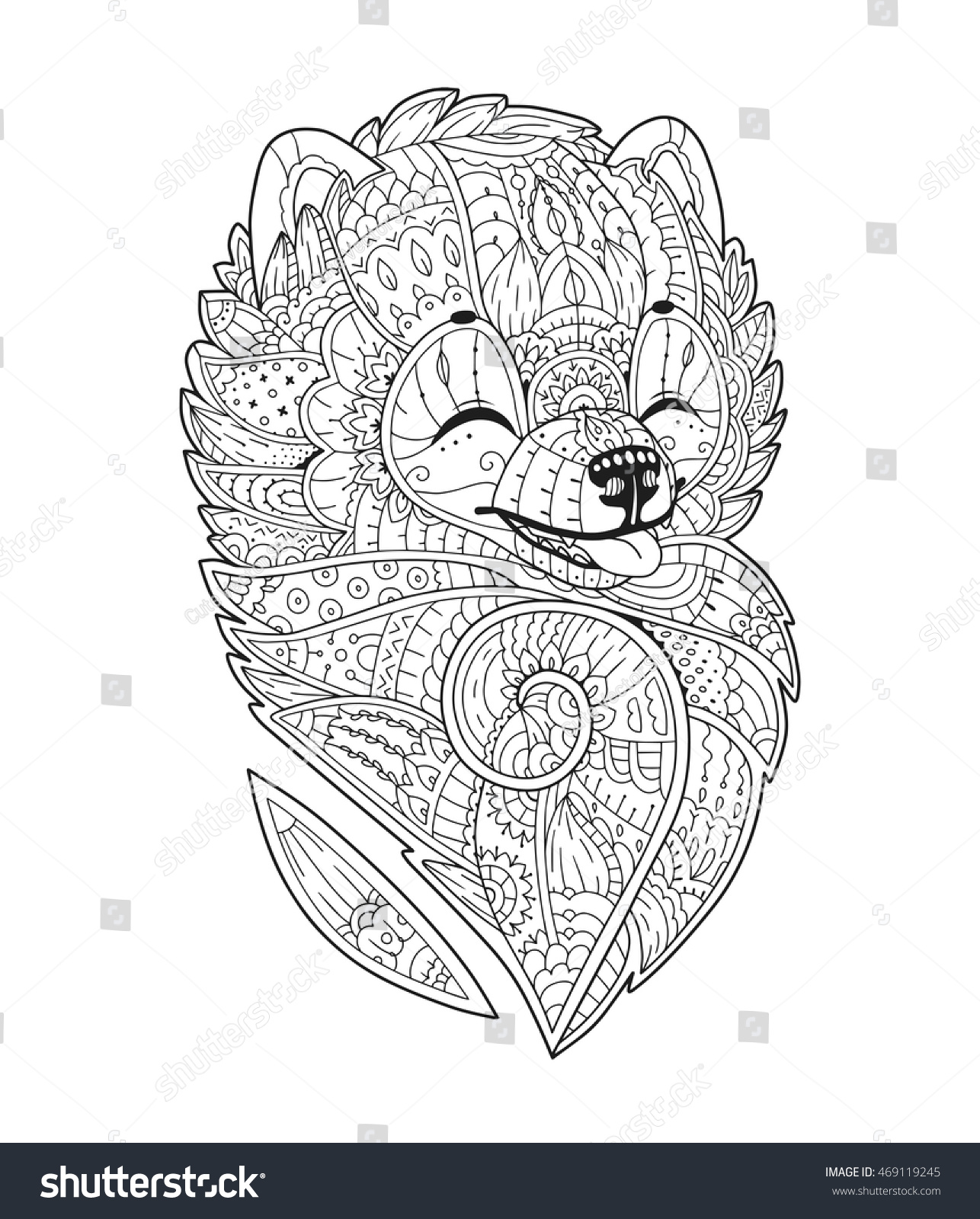 Zen Art Stylized Dog Vector Hand Stock Vector 469119245 - Shutterstock
