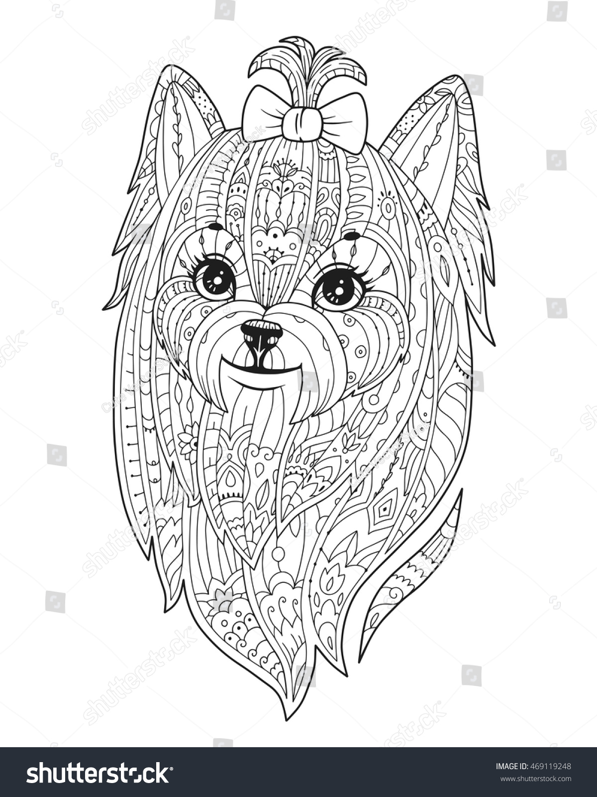 coloring page purebred dog zendala stock vector 469119248
