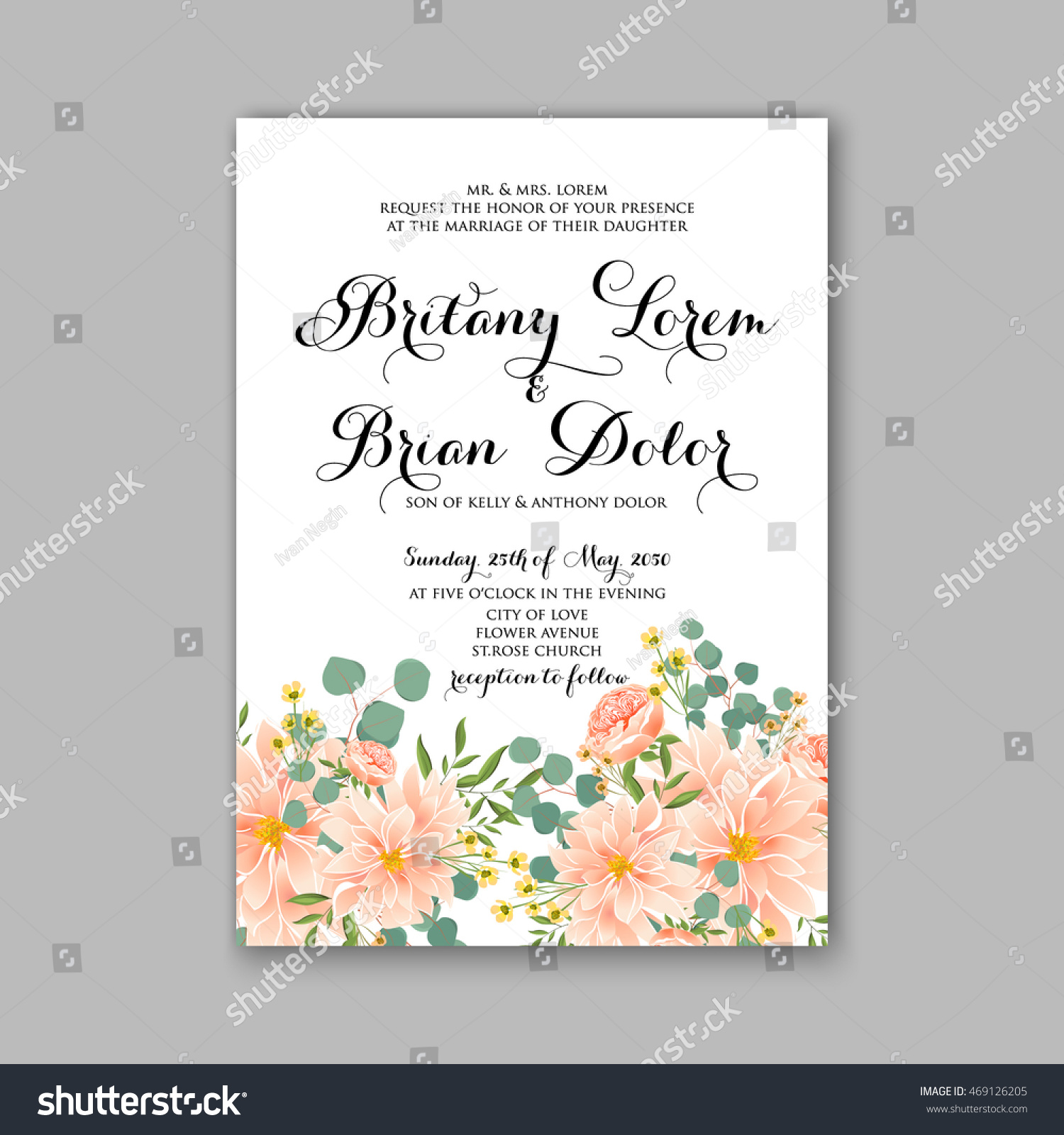 Beautiful Wedding Floral Vector Invitation Sample Stock Vector (2018 ...