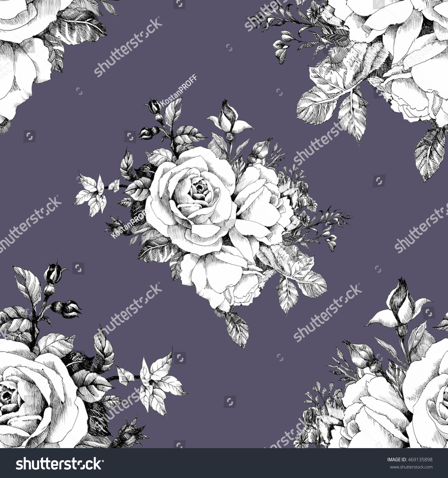 Seamless Pattern With Black And White Roses Flowers On Black