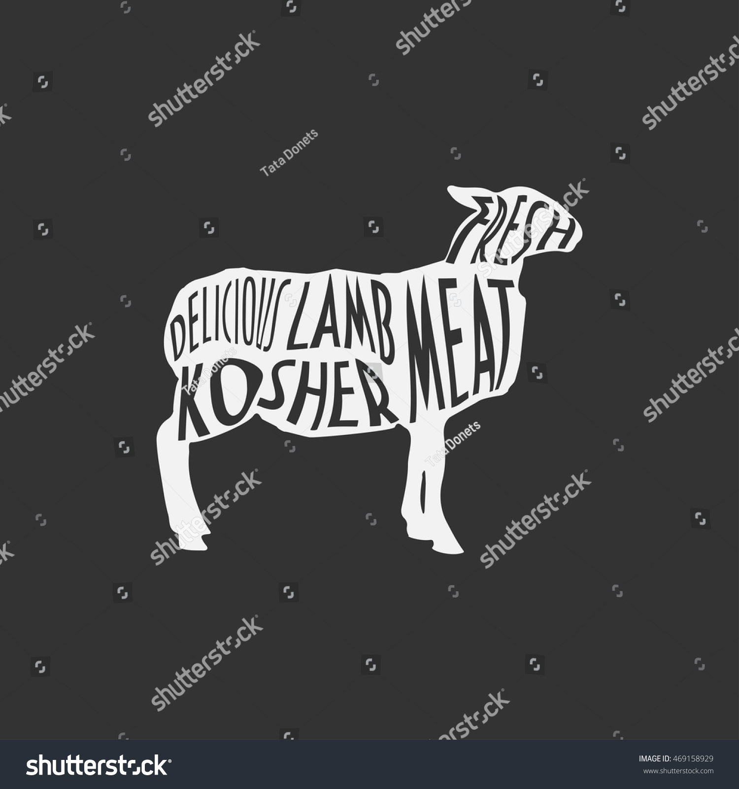 Lamb Silhouette Vintage Good Butchers Shopmarket Stock Vector