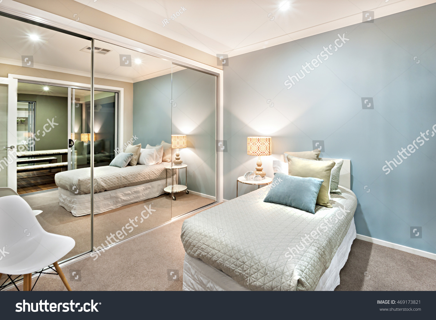 Modern Classic Bedroom Walls Light Blue Stock Photo (Download Now ...