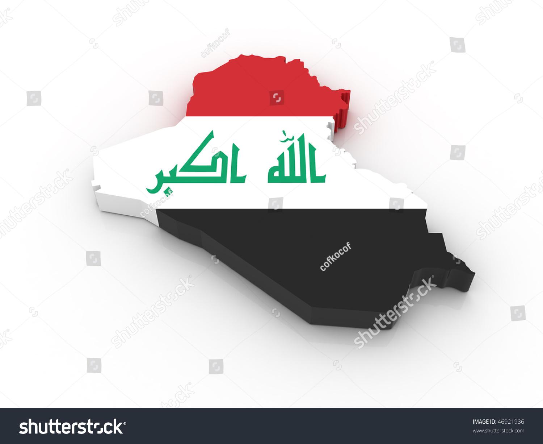 Three Dimensional Map Iraq Iraqi Flag Stockillustration 46921936 ...