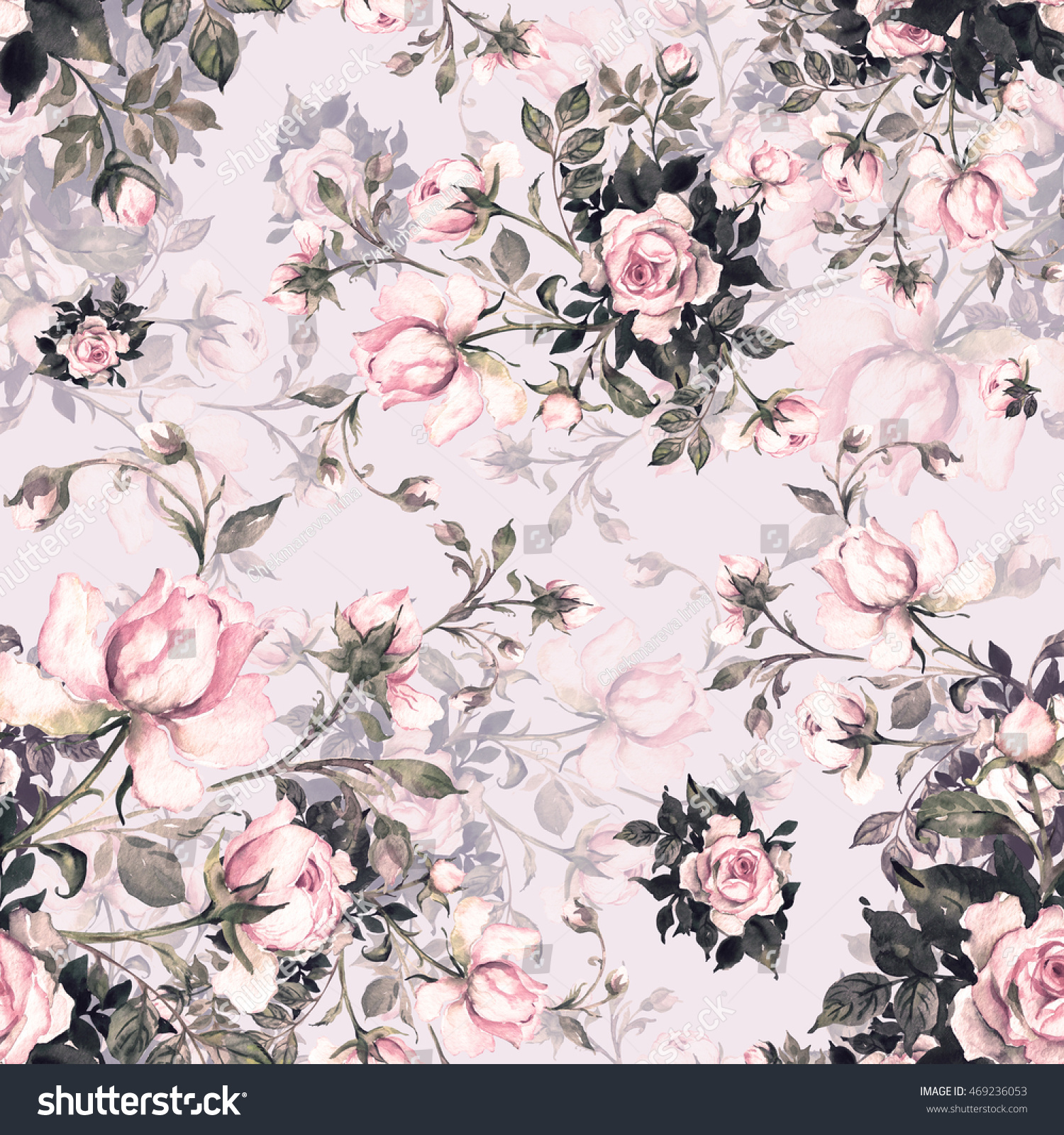 Watercolor seamless pattern bouquet of roses in bud Q. Beautiful pattern  for decoration and design