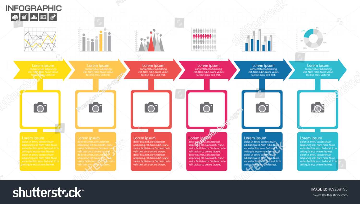 timeline infographics design template options process stock vector