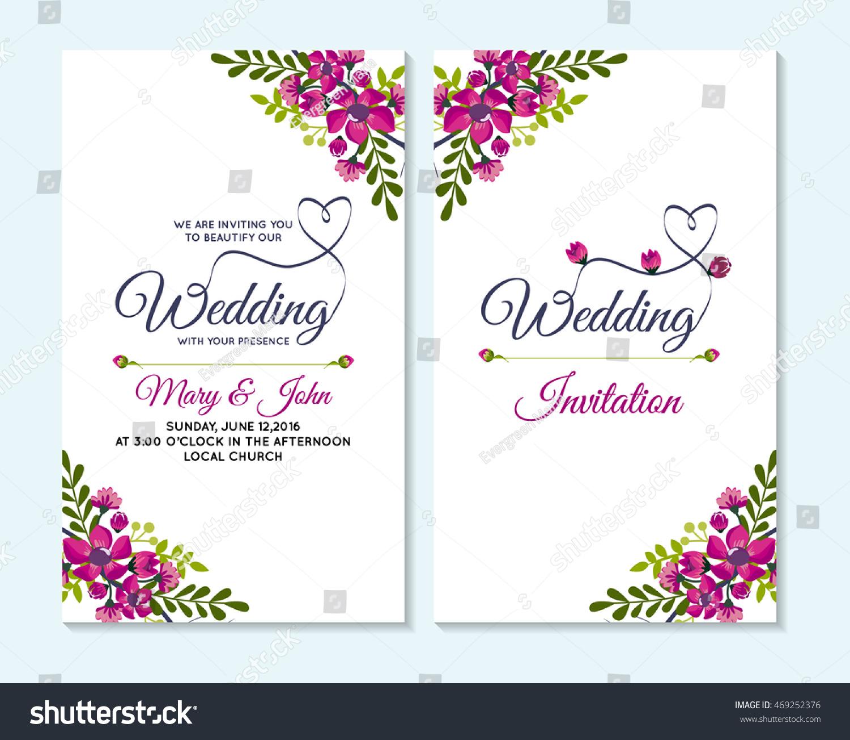 Wedding Invitation Thank You Card Save Stock Vector (2018) 469252376 ...