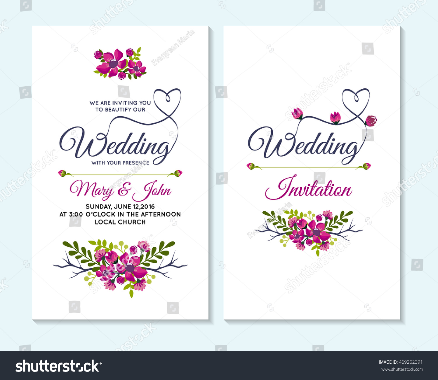 Wedding Invitation Thank You Card Save Stock Vector 469252391 ...